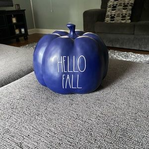 Rae dunn XL hello fall blue pumpkin